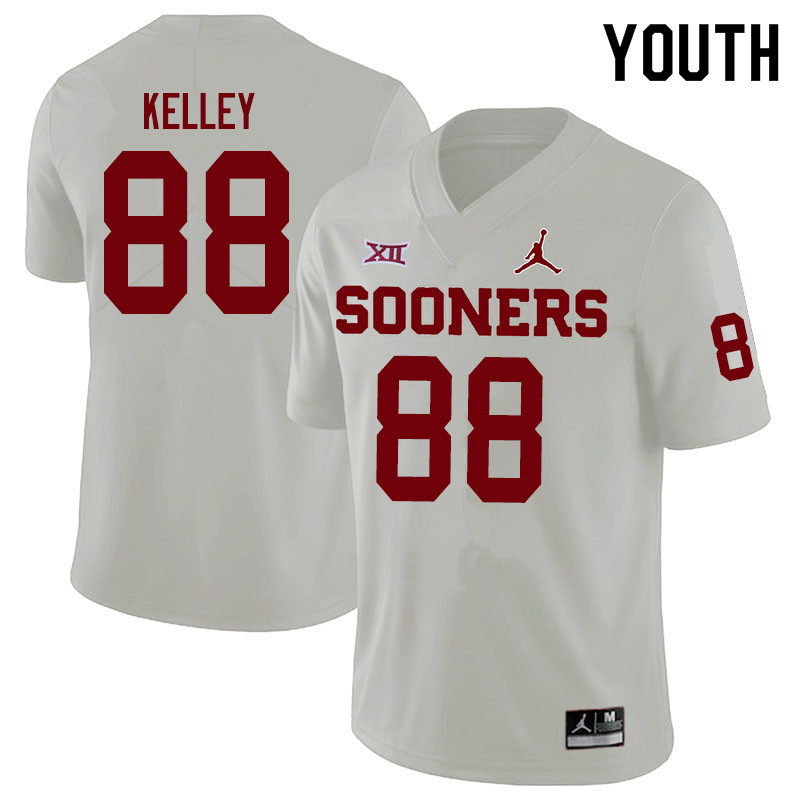 Youth #88 Jordan Kelley Oklahoma Sooners Jordan Brand College Football Jerseys Sale-White